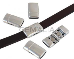 Zamak. Magnetic clasp. Flat. 22x12.5mm. Silver. Inn.10x2mm.