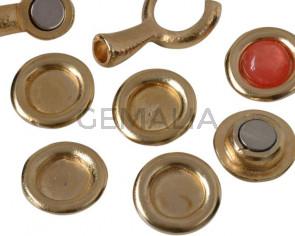 Zamak. Coin. 21mm. No stone. Inn.stone 12mm. Gold.