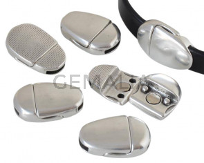 Magnetic oval clasp Zamak. 24.5x16mm. Silver. Inn.10x2mm. Bulk Price.