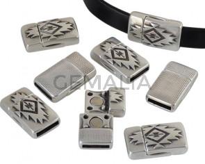 Magnetic clasp Zamak. Flat. 23x13mm. Silver. Inn.10x2mm. Bulk Price.