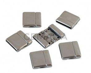 Magnetic clasp Zamak. Flat. 22x23mm. Silver. Inn.20x2mm. Bulk Price.