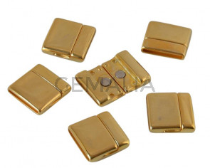 Magnetic clasp Zamak. Flat. 22x23mm. Gold. Inn.20x2mm. Bulk Price.