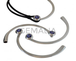 Zamak/Swarovski.Half necklace.94cm.Coin.20mm.Tanzanite.Inn.9.2x6.5mm