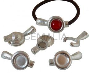 Zamak.Magnetic clasp.No stone.40x21mm.Inn.stone 12mm. Silver. Inn.5mm.