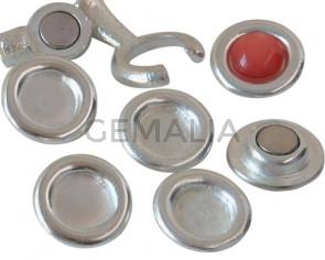 Zamak. Spare part. Coin. 21mm. No stone. Inn.stone 12mm. Silver.