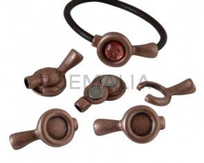 Zamak.Magnetic clasp.No stone.40x21mm.InnStone12mm.AntiquCopper.Inn5mm