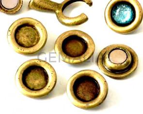 Zamak. Spare part.Coin.21mm.No stone.  Inn.stone 12mm. Antique copper.