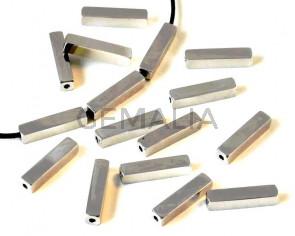 Stainless steel 304. Tube. Rectangle. 18x4x4mm. Silver. Inn.1.5mm.