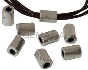 Zamak. Irregular tube. 14x10mm. Silver. Inn.5mm