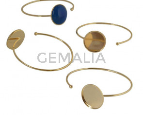 Brass. Bracelet. 54mm. No stone. Inn.stone 20mm. Gold.