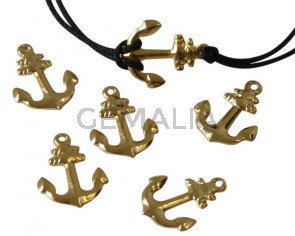 Brass. Pendant. Anchor. 14x11mm. Gold. Inn.1mm.