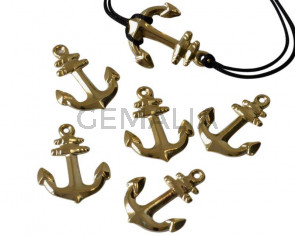 Brass. Pendant. Anchor. 22x17mm. Gold. Inn.1mm.