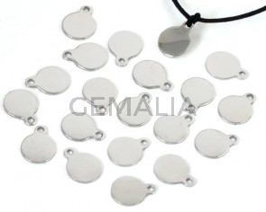 Stainless steel 304. Pendant. Coin. 10x8x0.8mm. Silver. Inn.1.5mm.