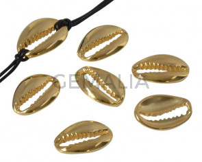 Zamak. Cowrie shell. 19x14mm. Gold.
