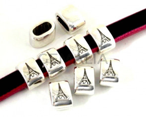 Zamak. 14.5x9.5mm. Tower. Paris. Silver. Inn.10x5mm.