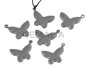 Stainless steel 304. Pendant. Butterfly.22.5x18.5x3mm.Silver.Inn.1.5mm