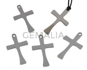 Stainless steel 304. Pendant. Cross. 18x31x1mm.Silver. Inn.2.5mm
