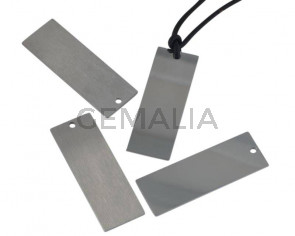 Stainless steel 304. Pendant. Rectangle. 14x40x1mm. Silver. Inn.2.5mm