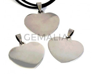 Stainless steel 304. Pendant. Heart. 34mm. Silver.Inn.3x4mm.