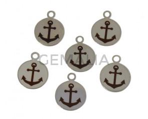 Brass. Pendant. Coin. 10mm. Anchor. Silver. Inn.1.6mm.