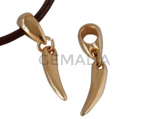 Zamak. Pendant. Horn. 37mm. Gold. Inn.5mm.