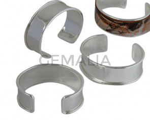 Brass. 24x66mm. Glittering Silver. For Leather 20mm.