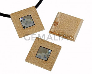 SWAROVSKI/Zamak.Pendant.Square.28mm.Gold.BlackDiamond.Int.4mm