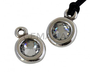 Zamak/SWAROVSKI Pendant. 17x11mm Coin. Silver-Crystal. Inn.2mm