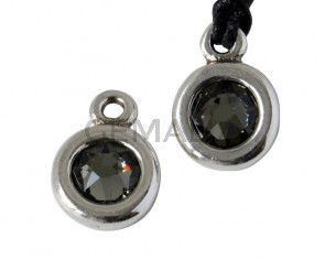 Zamak/SWAROVSKI Pendant. 17x11mm Coin. Silver-Black Diamond. Inn.2mm