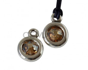Zamak/SWAROVSKI Pendant. 17x11mm Coin. Silver-Golden Shadow. Inn.2mm