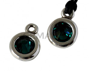 Zamak/SWAROVSKI Pendant. 17x11mm Coin. Silver-Emerald. Inn.2mm