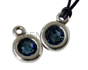 Zamak/SWAROVSKI Pendant. 17x11mm Coin. Silver-Denim Blue. Inn.2mm