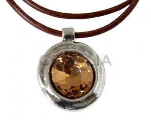 Zamak/SWAROVSKI Pendant. 45x33mm. Silver-Light Topaz. Int.4mm