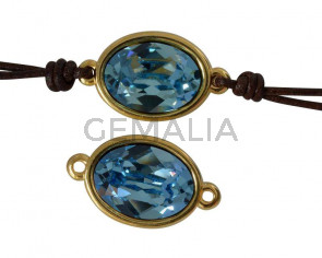 SWAROVSKI and Zamak connector. 22x13mm Oval. Gold-Aquamarine. Inn.2mm