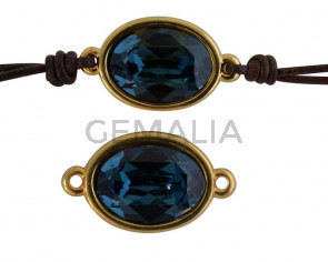 SWAROVSKI and Zamak connector. 22x13mm Oval. Gold-Montana. Inn.2mm