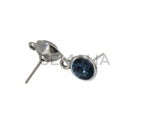 SWAROVSKI and Zamak earring with ring. Round 11mm. Silver-Denim Blue. Int.2mm