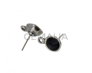 SWAROVSKI and Zamak earring with ring. Round 11mm. Silver-Graphite. Int.2mm