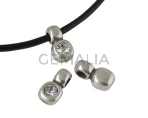 SWAROVSKI and Zamak pendant. 13x7mm. Silver-Crystal. Inn.3mm