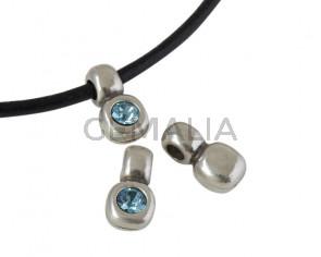 SWAROVSKI and Zamak pendant. 13x7mm. Silver-Aguamarine. Inn.3mm