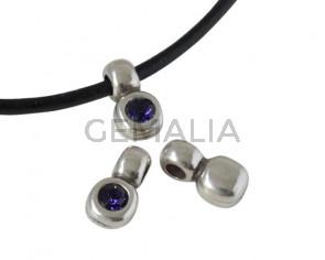 SWAROVSKI and Zamak pendant. 13x7mm. Silver-Purple Velvet. Inn.3mm