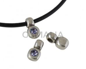 SWAROVSKI and Zamak pendant. 13x7mm. Silver-Tanzanite. Inn.3mm