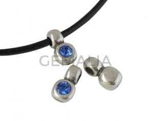 SWAROVSKI and Zamak pendant. 13x7mm. Silver-Sapphire. Inn.3mm