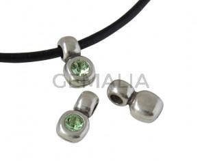 SWAROVSKI and Zamak pendant. 13x7mm. Silver-Peridot. Inn.3mm
