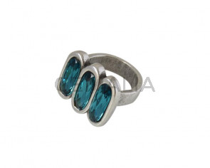 SWAROVSKI and Zamak ring. 22x19.5mm. Silver-Indicolite. Nº18