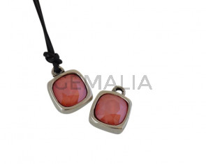 SWAROVSKI and metal pendant. 13x13mm. Silver-Light Coral. Inn.2mm