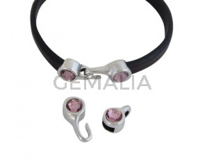 SWAROVSKI clasp with end cap. 2 pieces set 6x15mm-6x11mm. Silver-AntiquePink. Inn.5x2mm