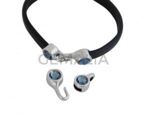 SWAROVSKI clasp with end cap. 2 pieces set 6x15mm-6x11mm. Silver-AntiquePink. Inn.5x2mmSWAROVSKI clasp with end cap. 2 pieces set 6x15mm-6x11mm. Silver-Denim Blue. Inn.5x2mm