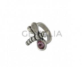 SWAROVSKI and Zamak Dragonfly ring. 25x28mm. Silver-AntiquePink. Inn.3mm