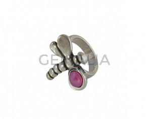 SWAROVSKI and Zamak Dragonfly ring. 25x28mm. Silver-Peony Pink. Inn.3mm