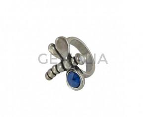 SWAROVSKI and Zamak Dragonfly ring. 25x28mm. Silver-Royal Blue. Inn.3mm